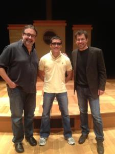 Producer Don Hahn, with US Army veteran Steve Baskis, and Director Michael Brown at the Pritzker Military Library & Museum